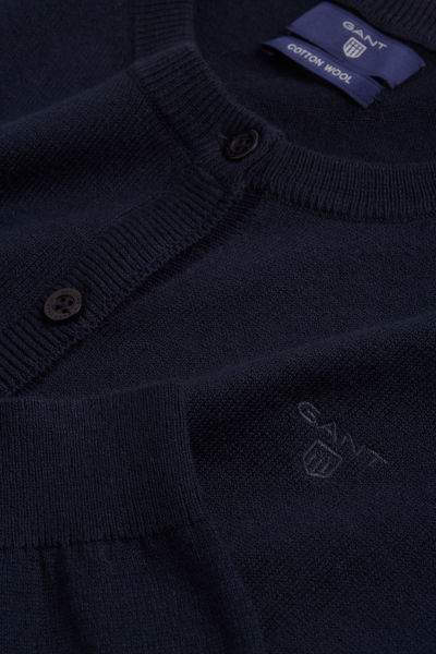 Svetr GANT COTTON WOOL CREW CARDIGAN