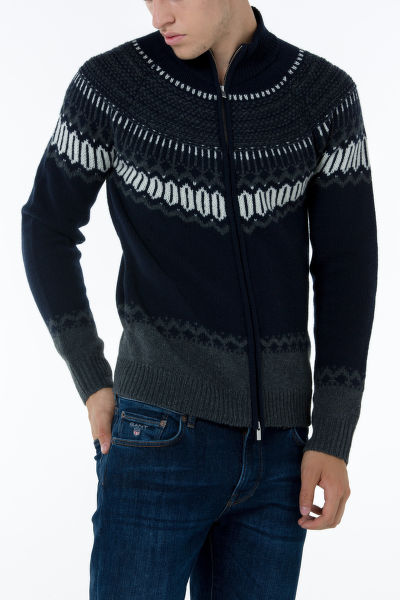 Sveter GANT O2. FAIRISLE HOLIDAY ZIP JACKET