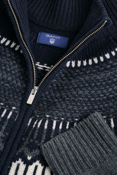 Svetr GANT O2. FAIRISLE HOLIDAY ZIP JACKET