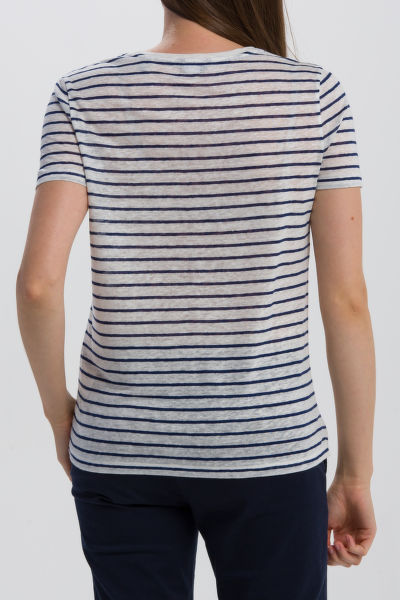 TRI?KO GANT O2. STRIPED LINEN SS T-SHIRT
