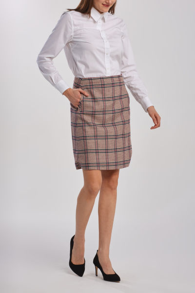 SUKŇA GANT D1. WASHABLE CHECK STR WOOL SKIRT