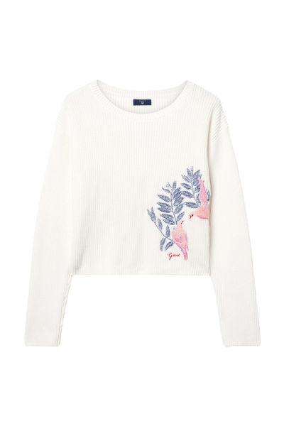 SVETER TG.EMBROIDERED CROPPED RIB JUMPER