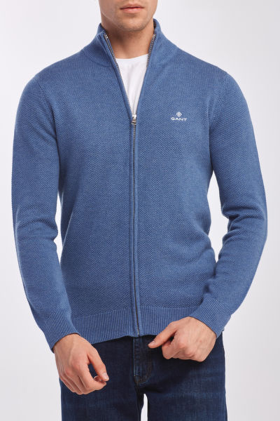 SVETER GANT COTTON PIQUE ZIP CARDIGAN