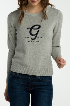 Sveter GANT O2. EMBROIDERY COTTON WOOL CREW