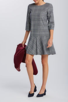 ŠATY GANT D1. CHECKED FLARE DRESS