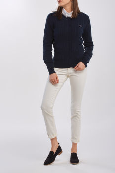SVETER GANT STRETCH COTTON CABLE CREW CARDIGAN